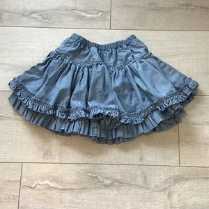 🍭Girls Double Layer Ruffle Denim Skirt